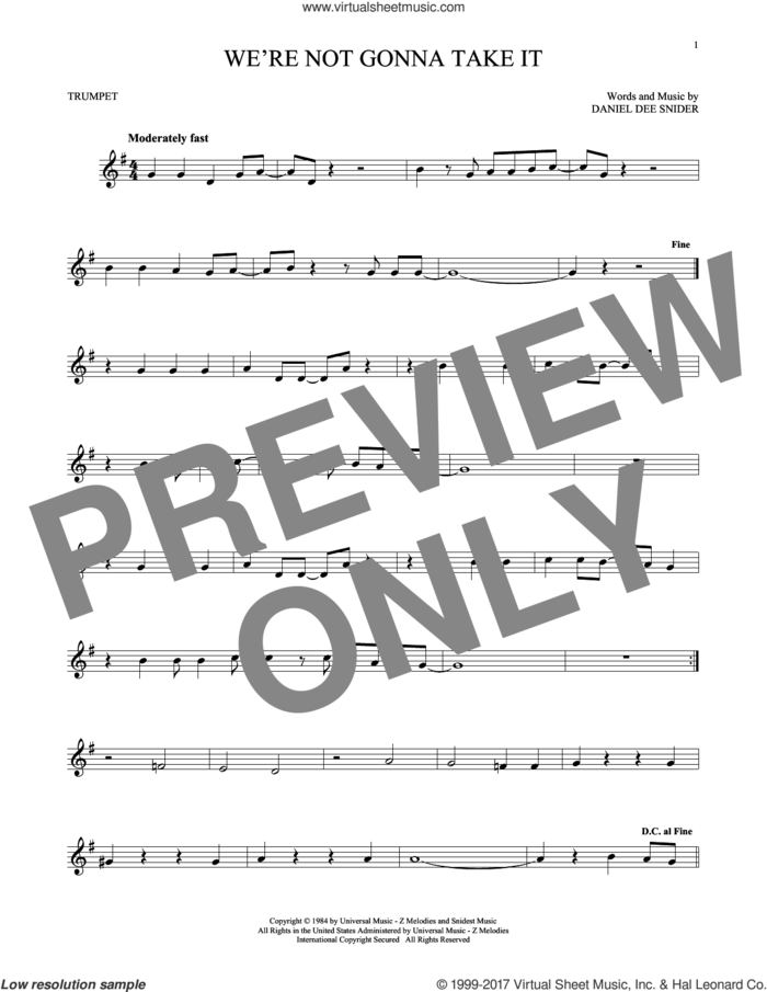 We're Not Gonna Take It sheet music for trumpet solo by Twisted Sister and Dee Snider, intermediate skill level