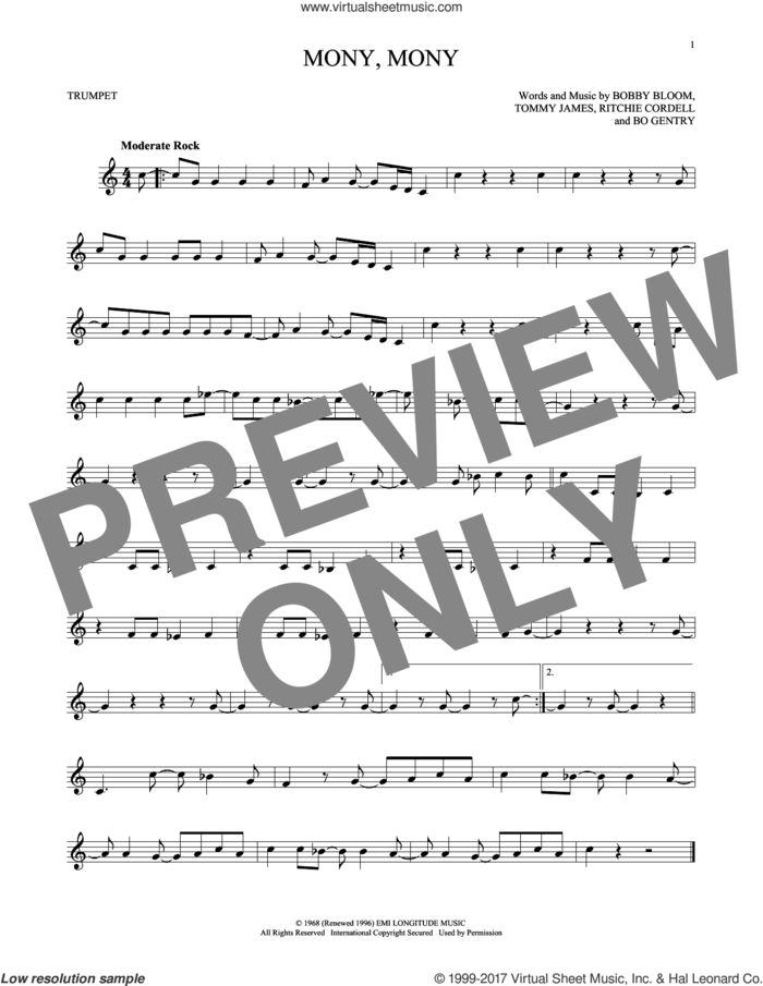Mony, Mony sheet music for trumpet solo by Tommy James & The Shondells, Bo Gentry, Bobby Bloom and Ritchie Cordell, intermediate skill level