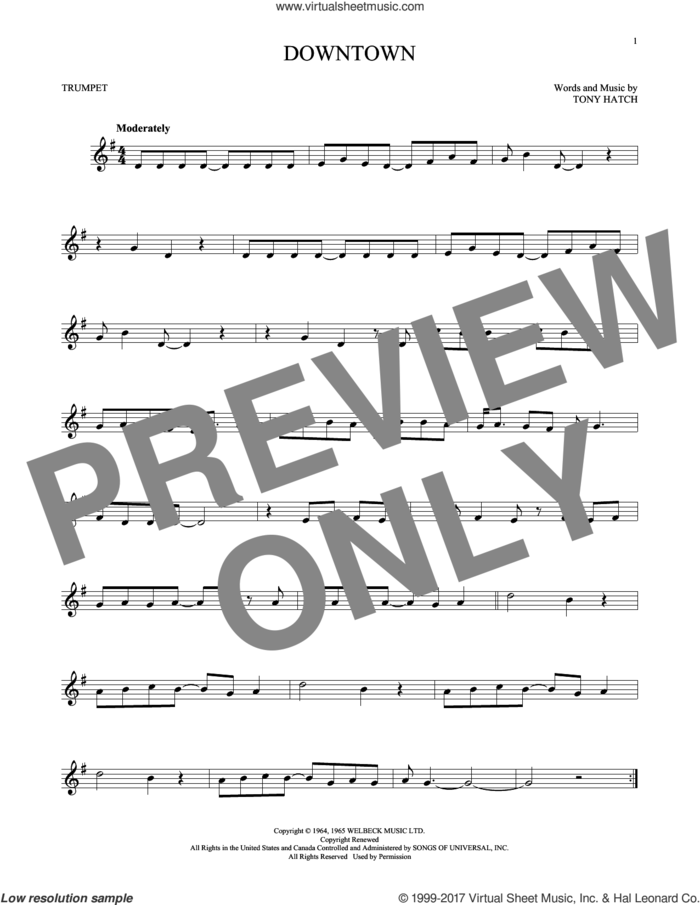 Downtown sheet music for trumpet solo by Petula Clark, intermediate skill level