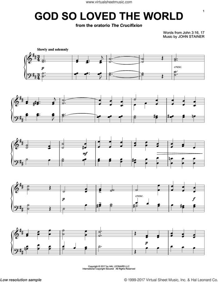 God So Loved The World sheet music for piano solo by John Stainer and Miscellaneous, intermediate skill level