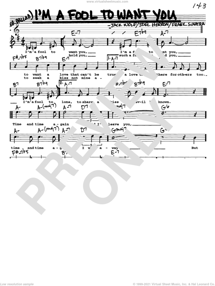 I'm A Fool To Want You sheet music for voice and other instruments  by Frank Sinatra, Jack Wolf and Joel Herron, intermediate skill level