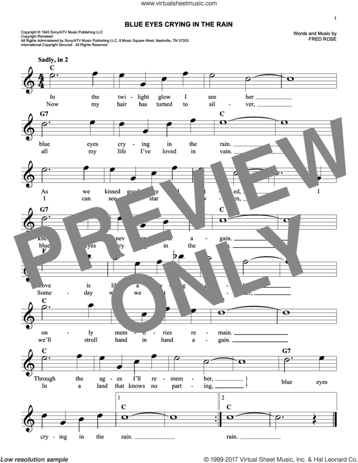 Blue Eyes Crying In The Rain sheet music for voice and other instruments (fake book) by Willie Nelson and Fred Rose, intermediate skill level