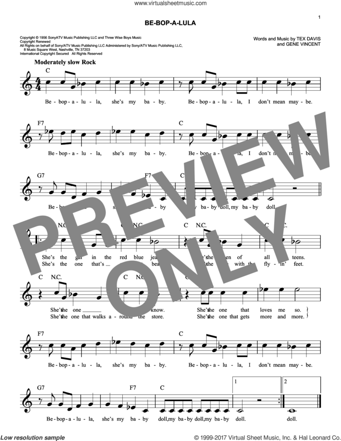 Be-Bop-A-Lula sheet music for voice and other instruments (fake book) by Gene Vincent and Tex Davis, intermediate skill level