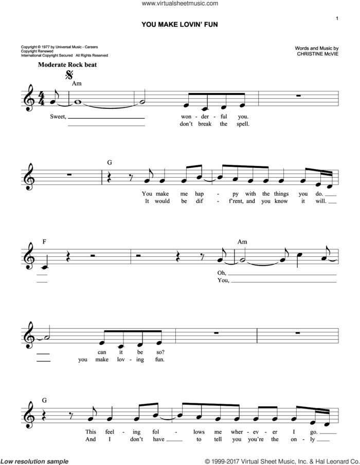 You Make Lovin' Fun sheet music for voice and other instruments (fake book) by Fleetwood Mac and Christine McVie, intermediate skill level
