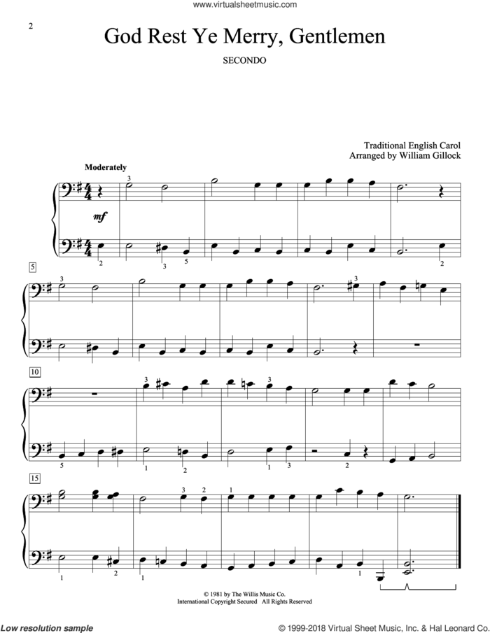 God Rest Ye Merry, Gentlemen sheet music for piano four hands by William Gillock and Miscellaneous, intermediate skill level