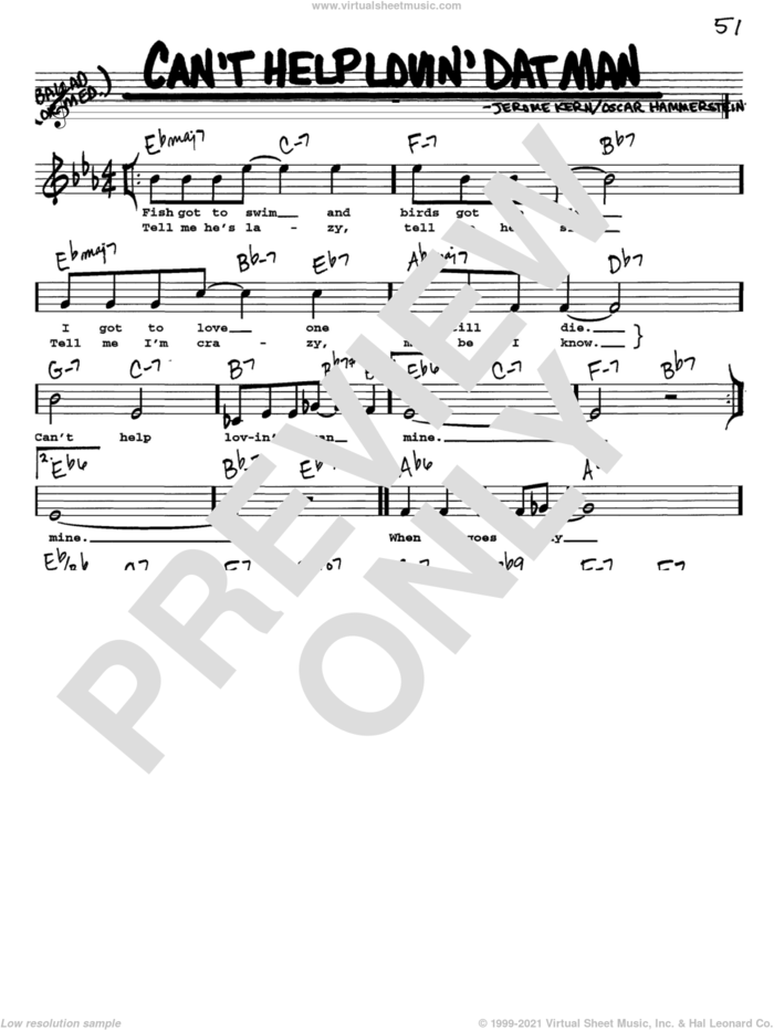 Can't Help Lovin' Dat Man sheet music for voice and other instruments  by Jerome Kern, Show Boat (Musical) and Oscar II Hammerstein, intermediate skill level