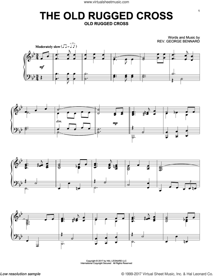 The Old Rugged Cross sheet music for piano solo by Rev. George Bennard, intermediate skill level