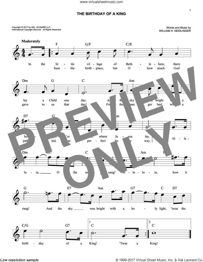 The Birthday Of A King sheet music for voice and other instruments (fake book) by William Harold Neidlinger, intermediate skill level
