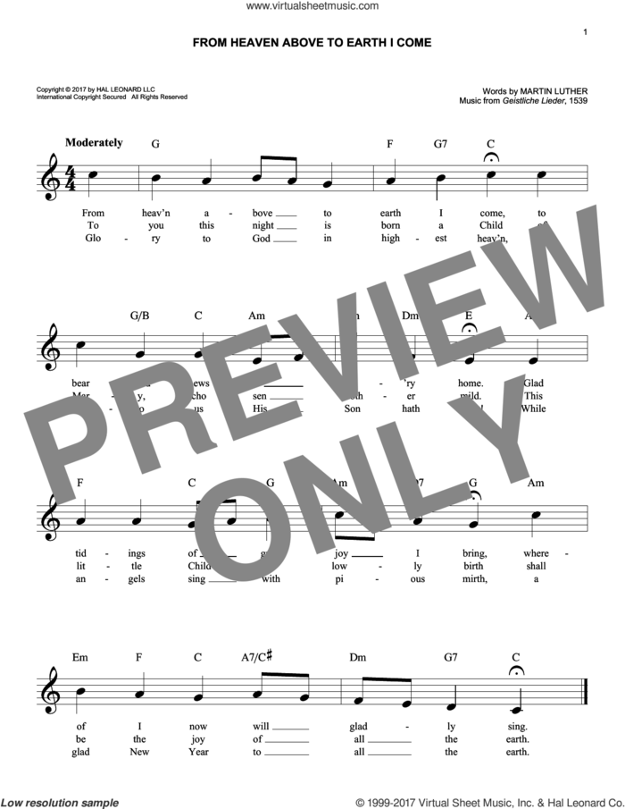 From Heaven Above To Earth I Come sheet music for voice and other instruments (fake book) by Geistliche Lieder and Martin Luther, intermediate skill level