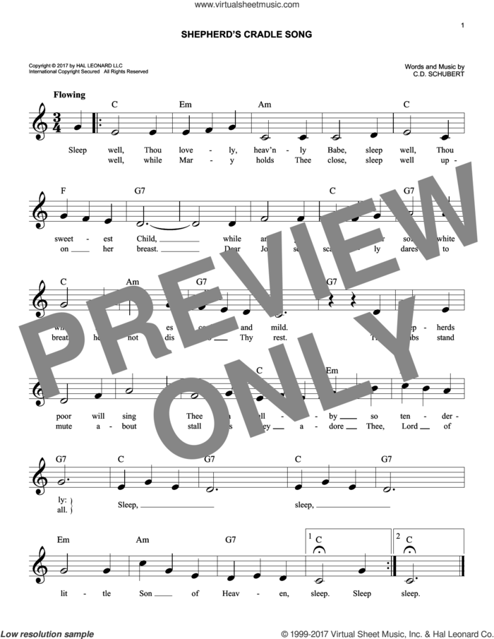 Shepherds' Cradle Song sheet music for voice and other instruments (fake book) by C.D. Schubert, intermediate skill level