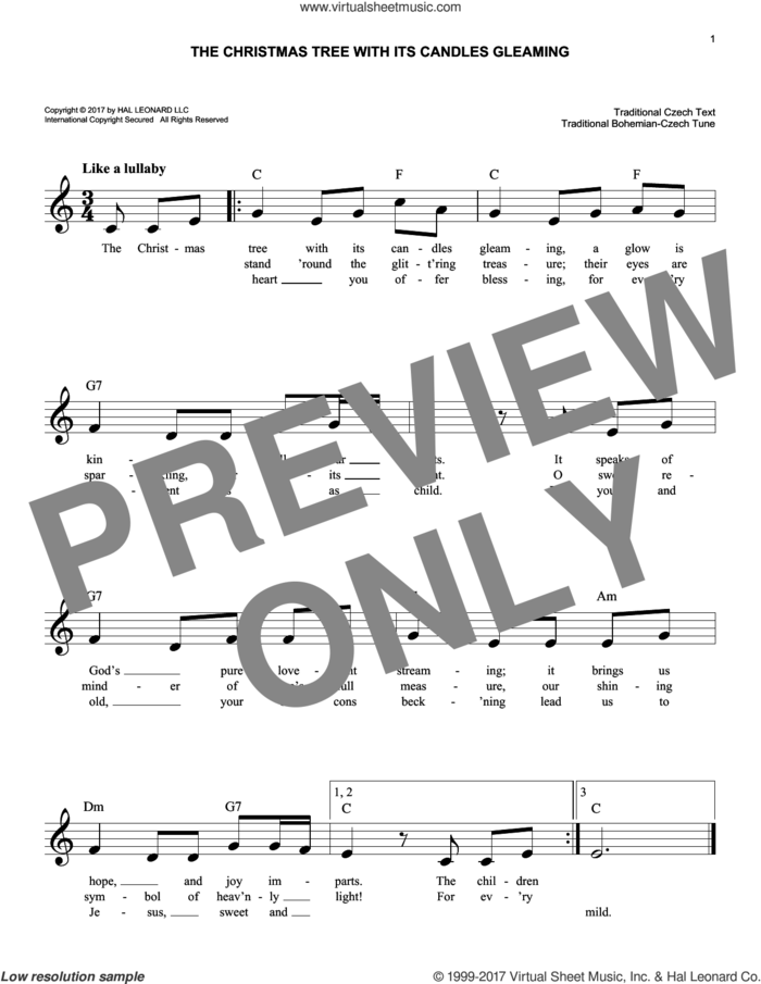 The Christmas Tree With Its Candles Gleaming sheet music for voice and other instruments (fake book) by Traditional Bohemian-Czech, intermediate skill level