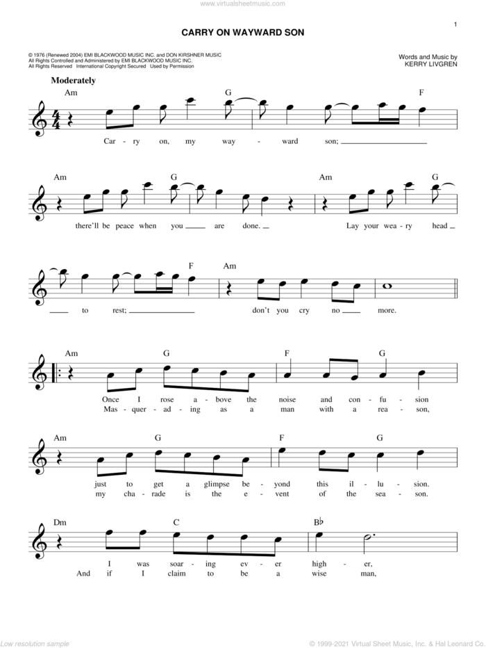 Carry On Wayward Son sheet music for voice and other instruments (fake book) by Kansas and Kerry Livgren, intermediate skill level