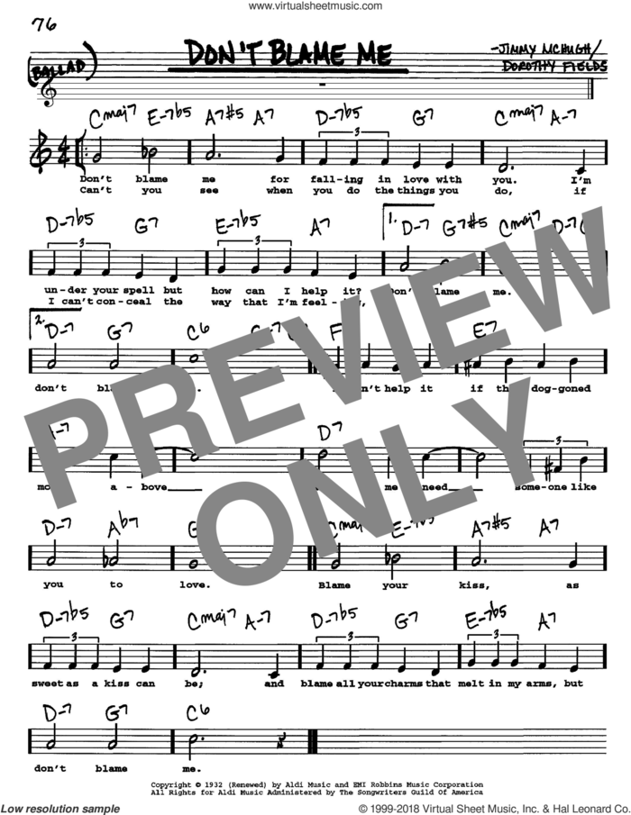 Don't Blame Me sheet music for voice and other instruments  by Dorothy Fields and Jimmy McHugh, intermediate skill level