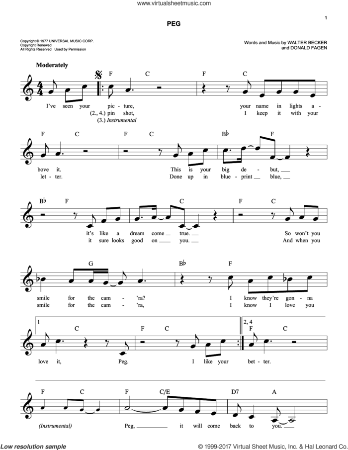Peg sheet music for voice and other instruments (fake book) by Steely Dan, Donald Fagen and Walter Becker, intermediate skill level
