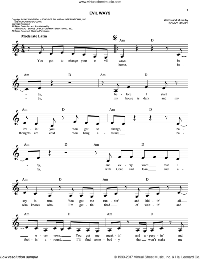 Evil Ways sheet music for voice and other instruments (fake book) by Carlos Santana and Sonny Henry, intermediate skill level