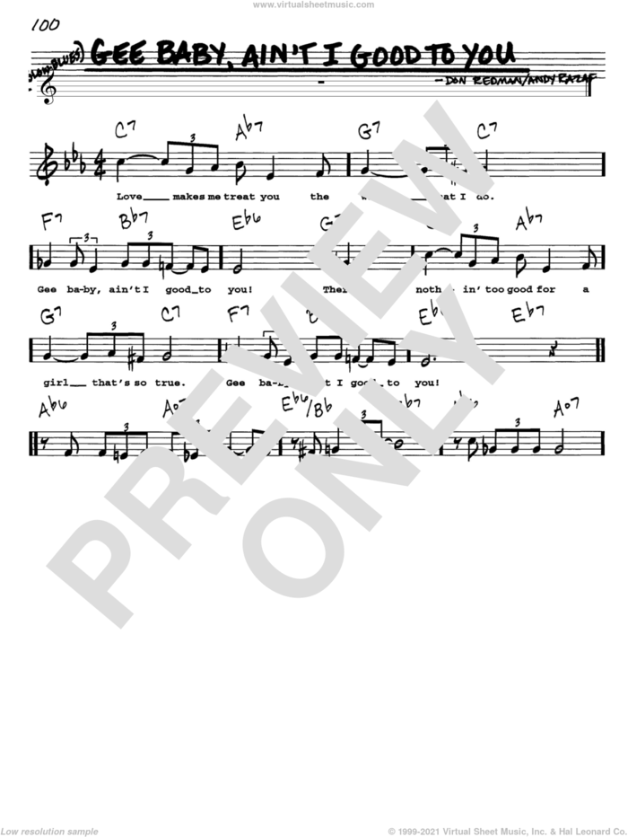 Gee Baby, Ain't I Good To You sheet music for voice and other instruments  by Don Redman and Andy Razaf, intermediate skill level
