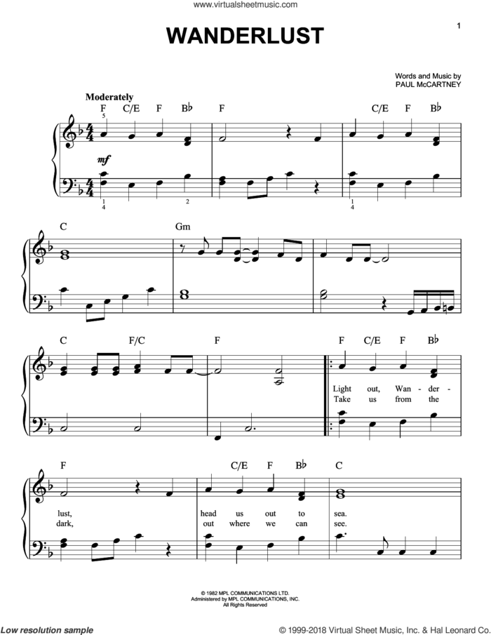 Wanderlust sheet music for piano solo by Paul McCartney, easy skill level