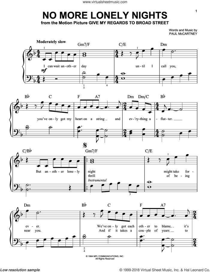 No More Lonely Nights sheet music for piano solo by Paul McCartney, easy skill level