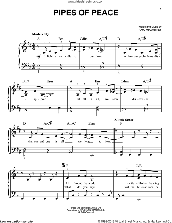 Pipes Of Peace sheet music for piano solo by Paul McCartney, easy skill level