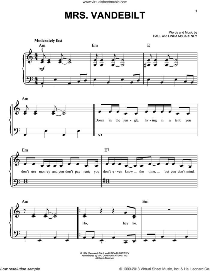 Mrs. Vandebilt sheet music for piano solo by Paul McCartney and Linda McCartney, easy skill level