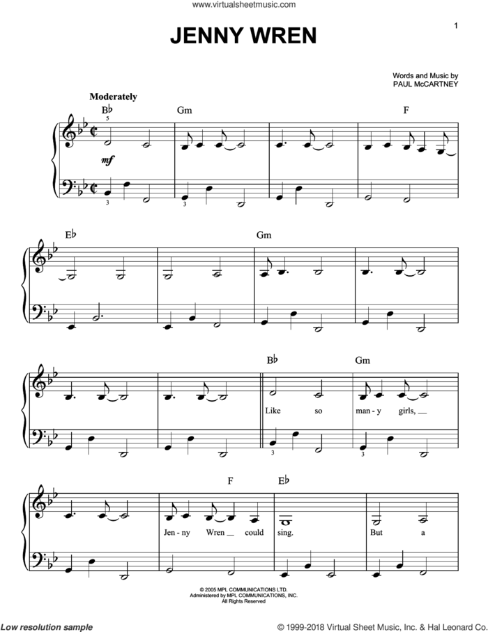 Jenny Wren sheet music for piano solo by Paul McCartney, easy skill level