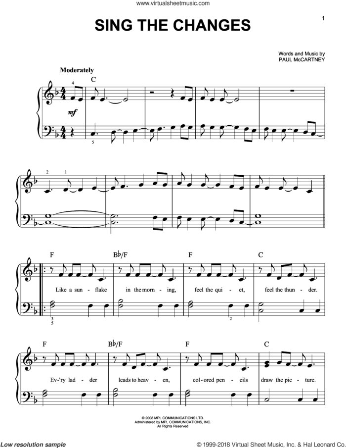 Sing The Changes sheet music for piano solo by Paul McCartney, easy skill level