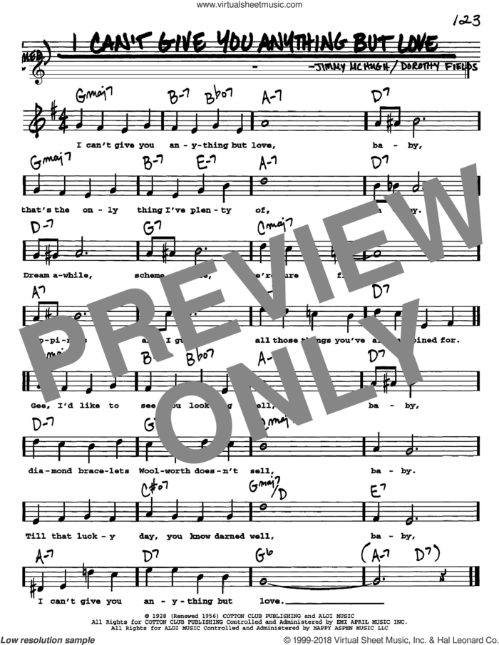 I Can't Give You Anything But Love sheet music for voice and other instruments  by Dorothy Fields and Jimmy McHugh, intermediate skill level