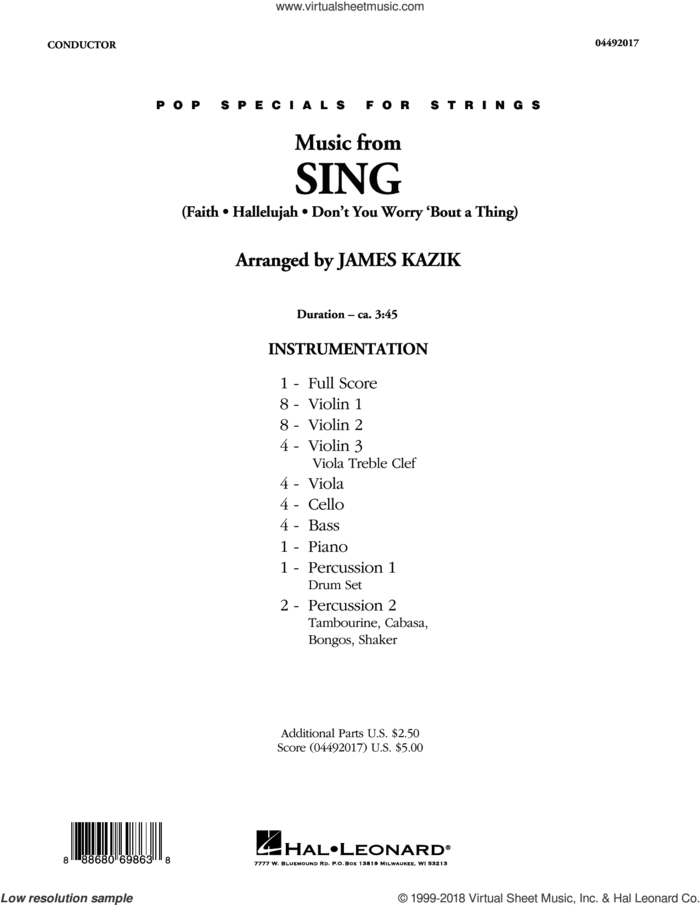 Music from Sing (COMPLETE) sheet music for orchestra by James Kazik, intermediate skill level