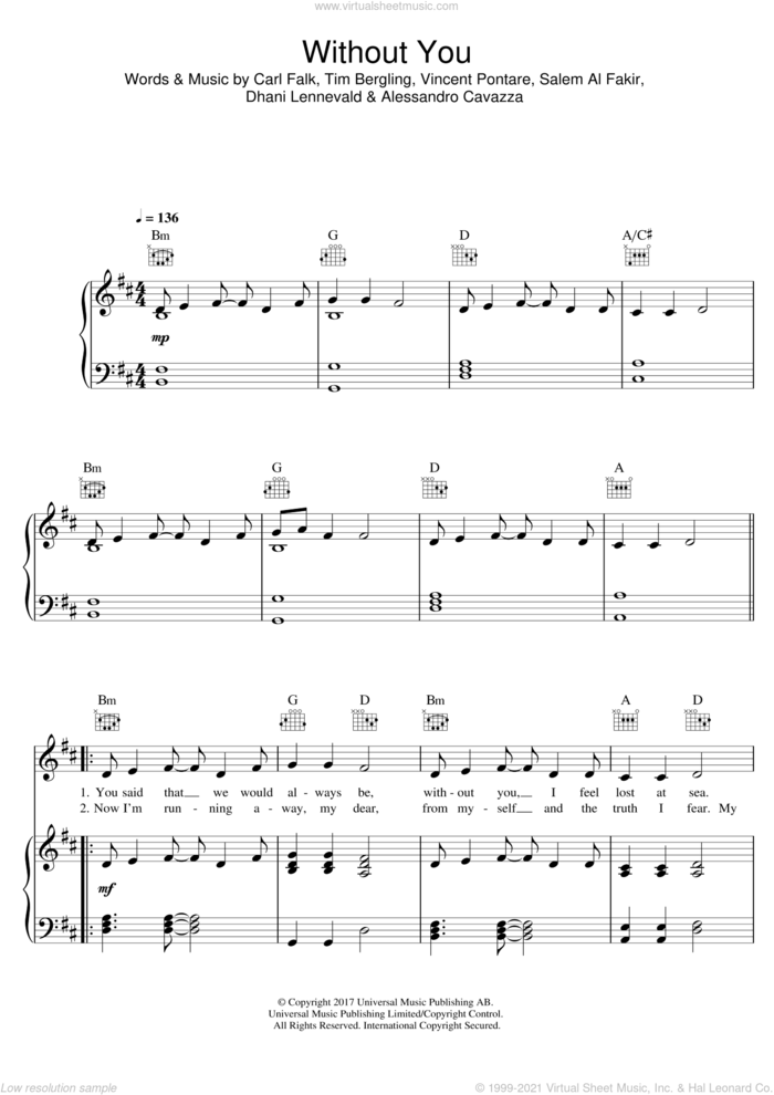 Without You (featuring Sandro Cavazza) sheet music for voice, piano or guitar by Avicii, Sandro Cavazza, Alessandro Cavazza, Carl Falk, Dhani Lennevald, Salem Al Fakir, Tim Bergling and Vincent Pontare, intermediate skill level