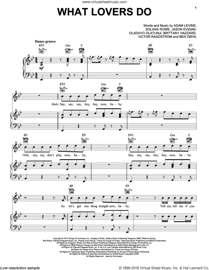 What Lovers Do sheet music for voice, piano or guitar by Maroon 5, Adam Levine, Benjamin Diehl, Brittany Hazzard, Jason Evigan, Oladayo Olatunji and Solana Rowe, intermediate skill level