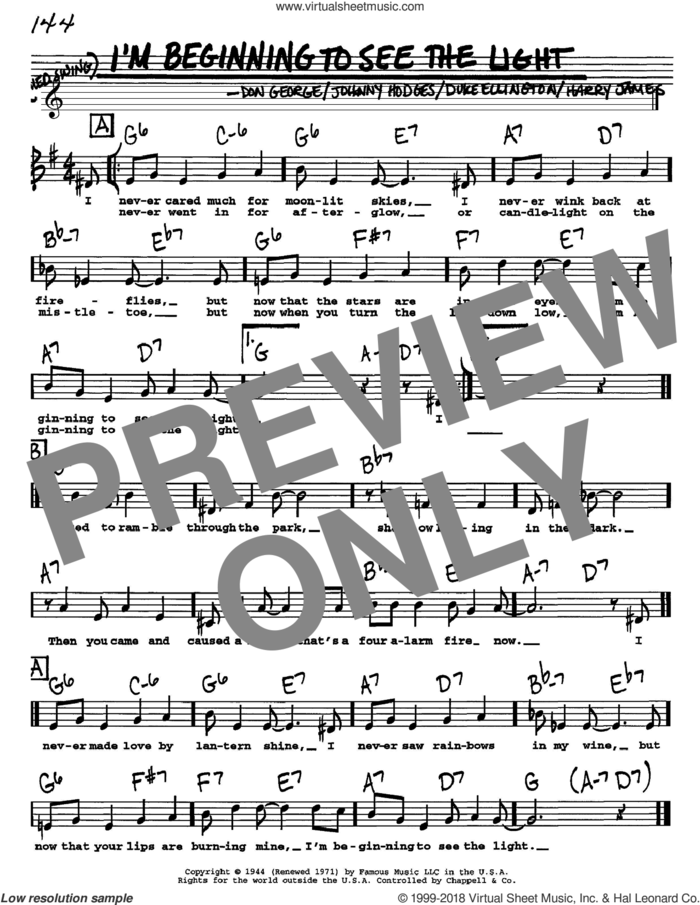 I'm Beginning To See The Light sheet music for voice and other instruments  by Duke Ellington, Don George, Harry James and Johnny Hodges, intermediate skill level