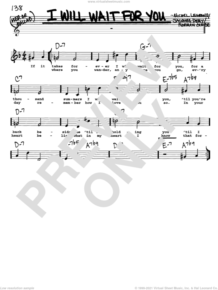 I Will Wait For You sheet music for voice and other instruments  by Michel LeGrand, Jacques Demy and Norman Gimbel, intermediate skill level