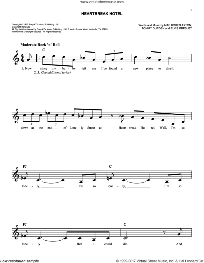 Heartbreak Hotel sheet music for voice and other instruments (fake book) by Elvis Presley, Mae Boren Axton and Tommy Durden, intermediate skill level