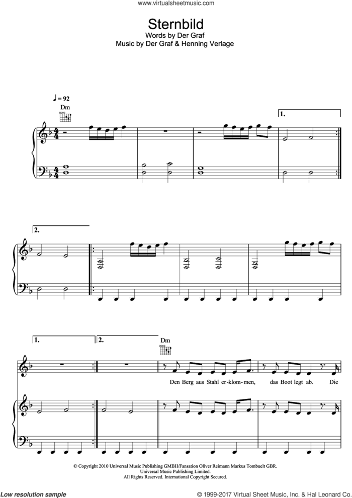 Sternbild sheet music for voice, piano or guitar by Unheilig, Der Graf and Henning Verlage, intermediate skill level