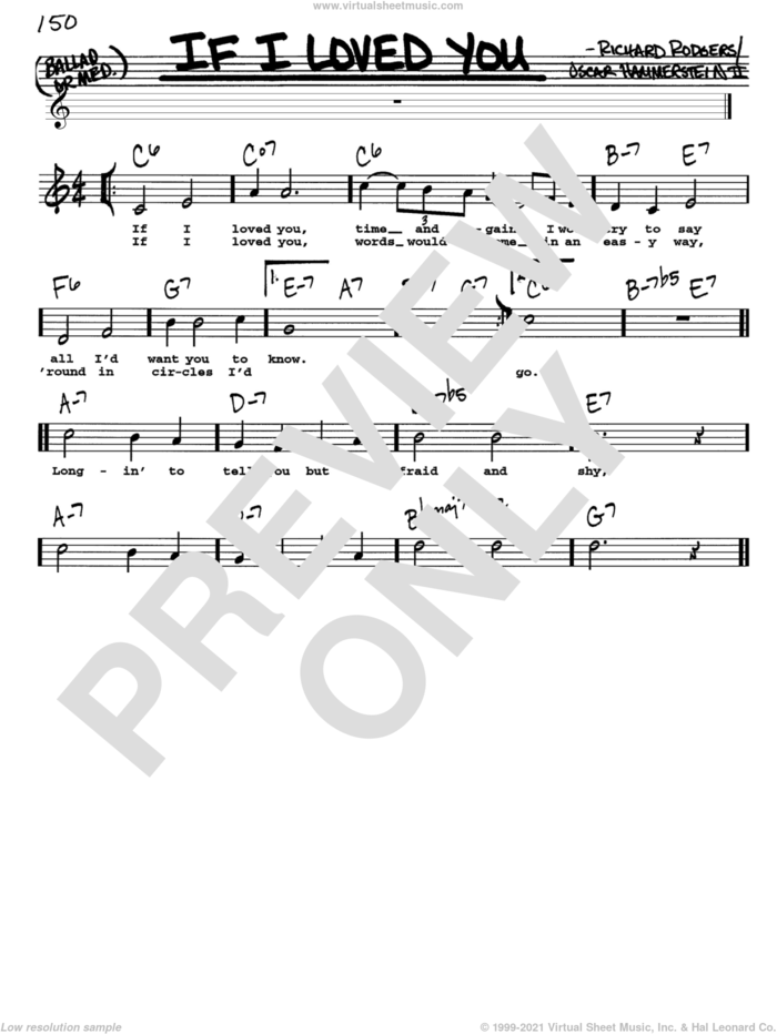 If I Loved You sheet music for voice and other instruments  by Rodgers & Hammerstein, Oscar II Hammerstein and Richard Rodgers, intermediate skill level