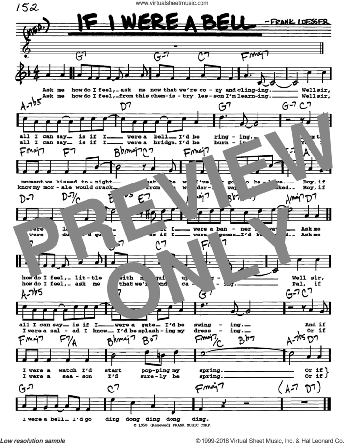 If I Were A Bell sheet music for voice and other instruments  by Frank Loesser, intermediate skill level