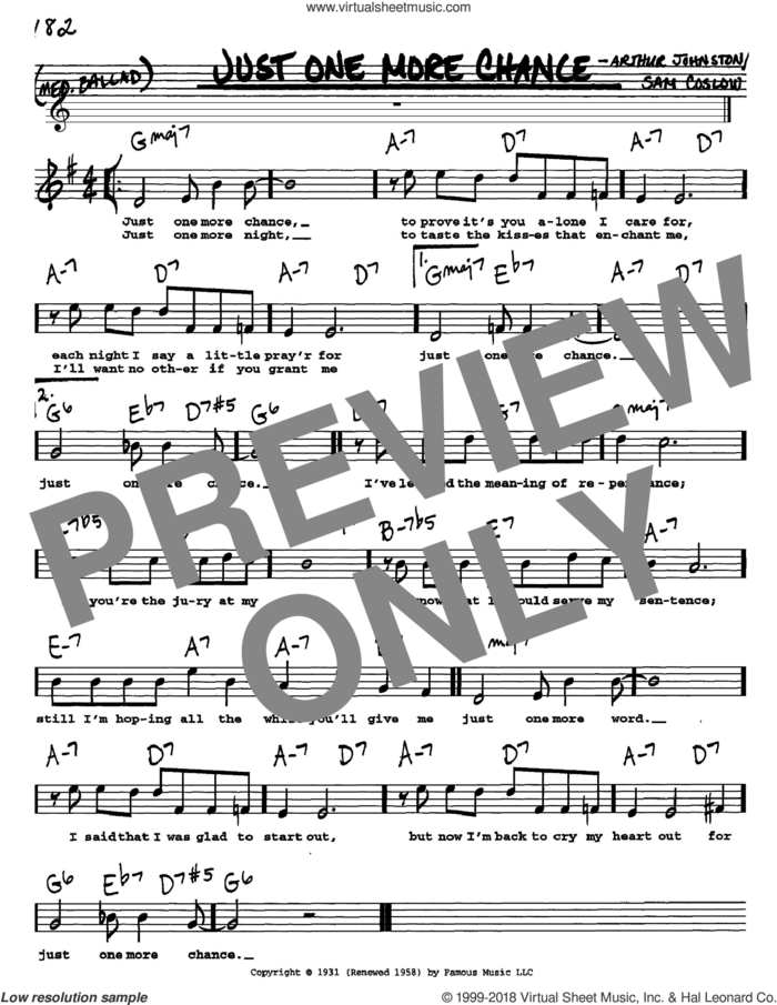 Just One More Chance sheet music for voice and other instruments  by Bing Crosby, Arthur Johnston and Sam Coslow, intermediate skill level