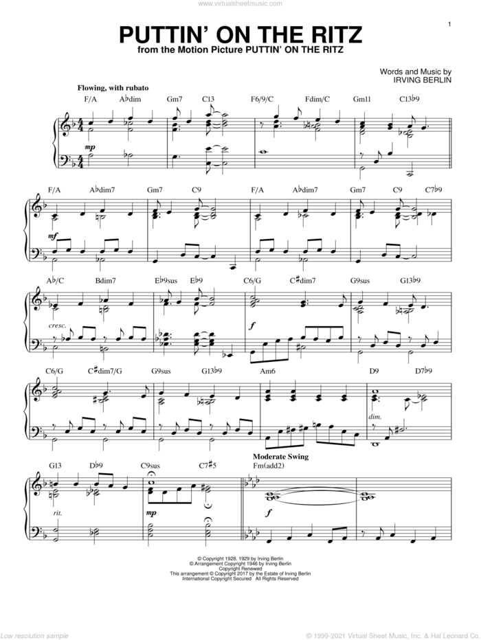 Puttin' On The Ritz [Jazz version] sheet music for piano solo by Irving Berlin, intermediate skill level