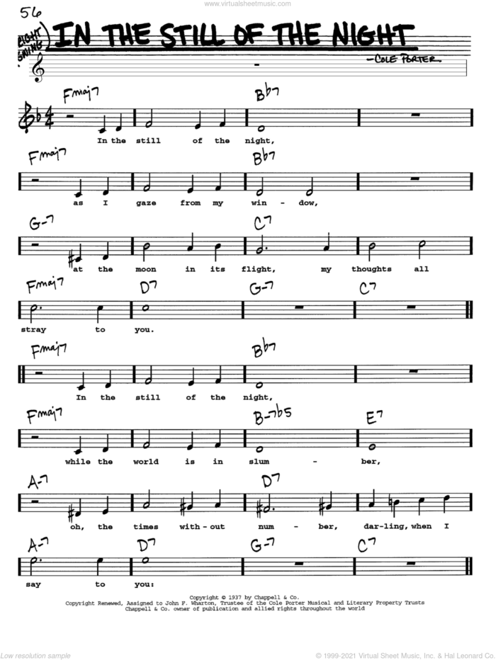 In The Still Of The Night sheet music for voice and other instruments  by Cole Porter, intermediate skill level