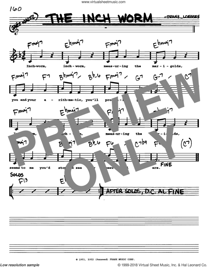 The Inch Worm sheet music for voice and other instruments  by Frank Loesser, intermediate skill level