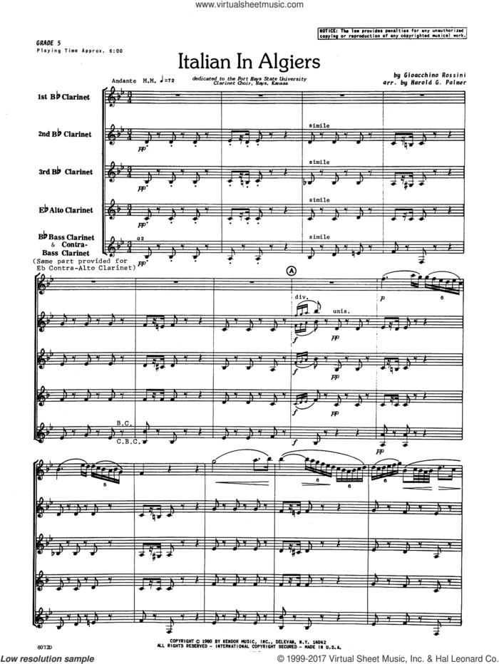 Italian In Algiers (COMPLETE) sheet music for clarinet ensemble by Gioacchino Rossini and Harold Palmer, classical score, intermediate skill level