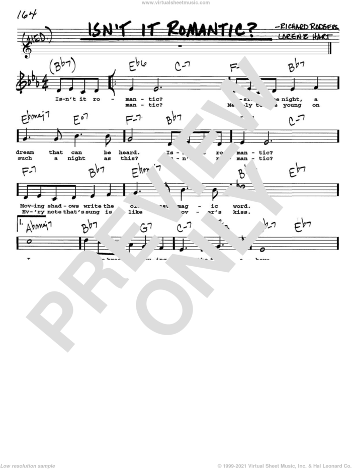 Isn't It Romantic? sheet music for voice and other instruments  by Rodgers & Hart, Shirley Horn, Lorenz Hart and Richard Rodgers, intermediate skill level