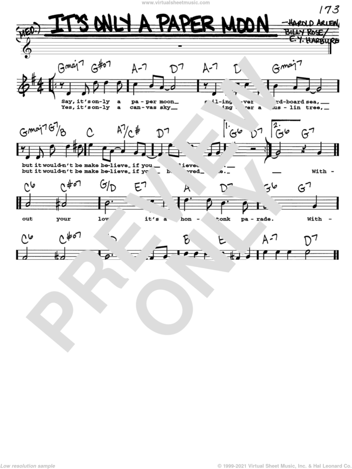 It's Only A Paper Moon sheet music for voice and other instruments  by E.Y. Harburg, Billy Rose and Harold Arlen, intermediate skill level