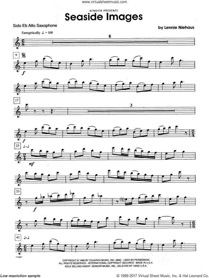 Seaside Images (complete set of parts) sheet music for alto saxophone and piano by Lennie Niehaus, classical score, intermediate skill level