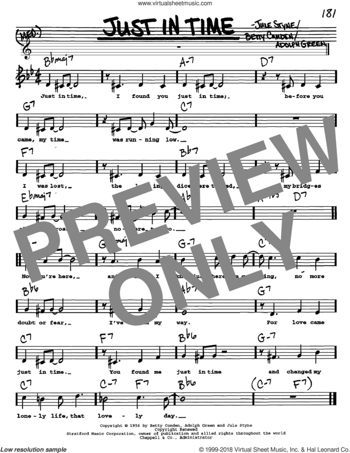 Just In Time sheet music for voice and other instruments  by Frank Sinatra, Adolph Green, Betty Comden and Jule Styne, intermediate skill level