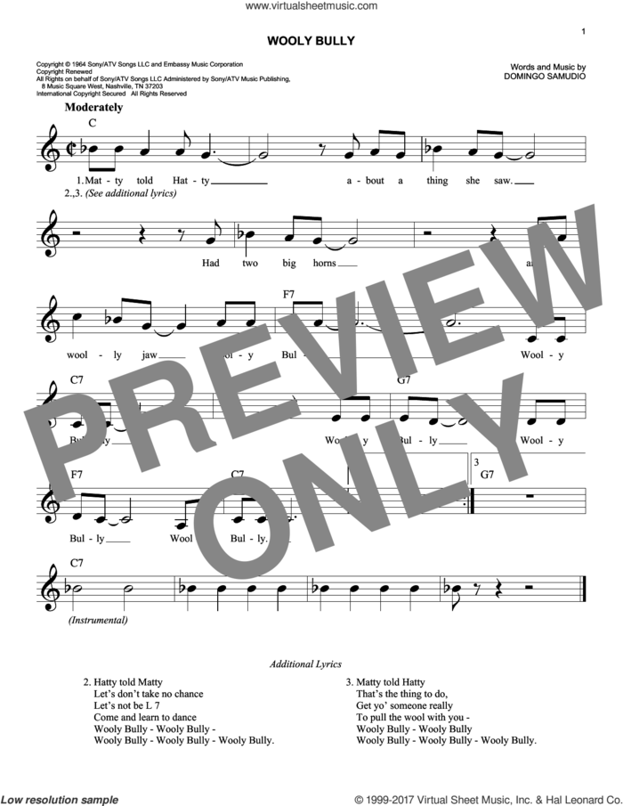 Wooly Bully sheet music for voice and other instruments (fake book) by Sam The Sham & The Pharaohs and Domingo Samudio, intermediate skill level
