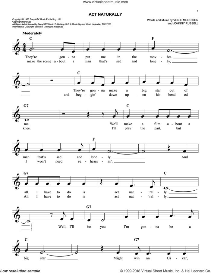 Act Naturally sheet music for voice and other instruments (fake book) by Buck Owens, The Beatles, Johnny Russell and Vonie Morrison, intermediate skill level