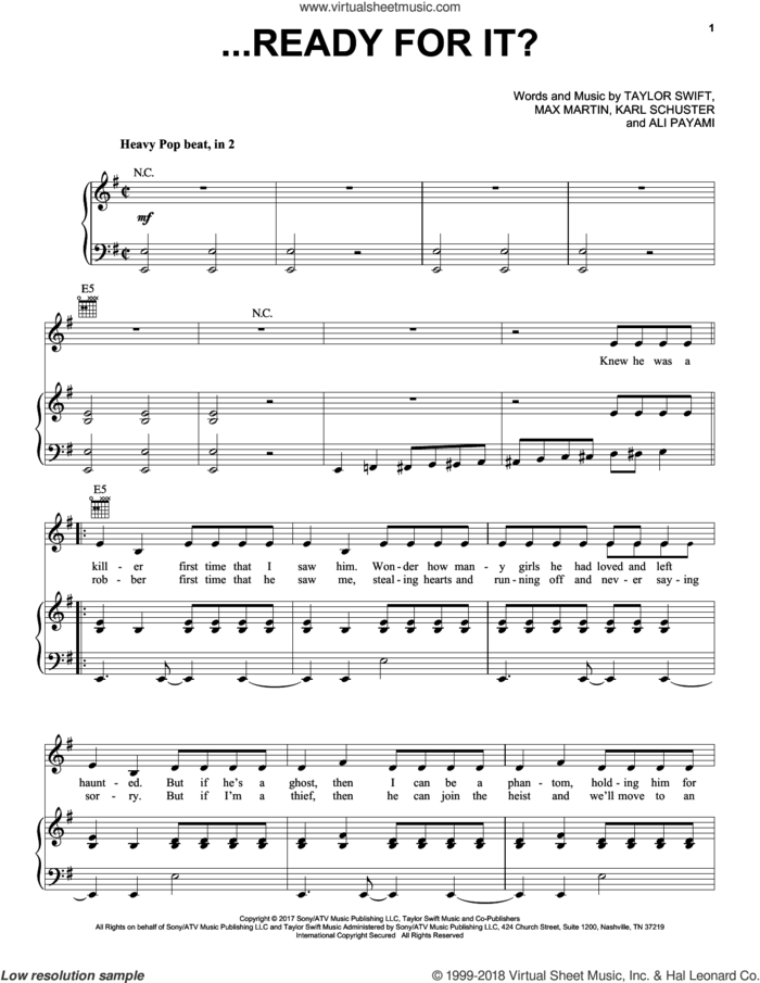 ...Ready for It? sheet music for voice, piano or guitar by Taylor Swift, Aly Payami, Karl Schuster and Max Martin, intermediate skill level