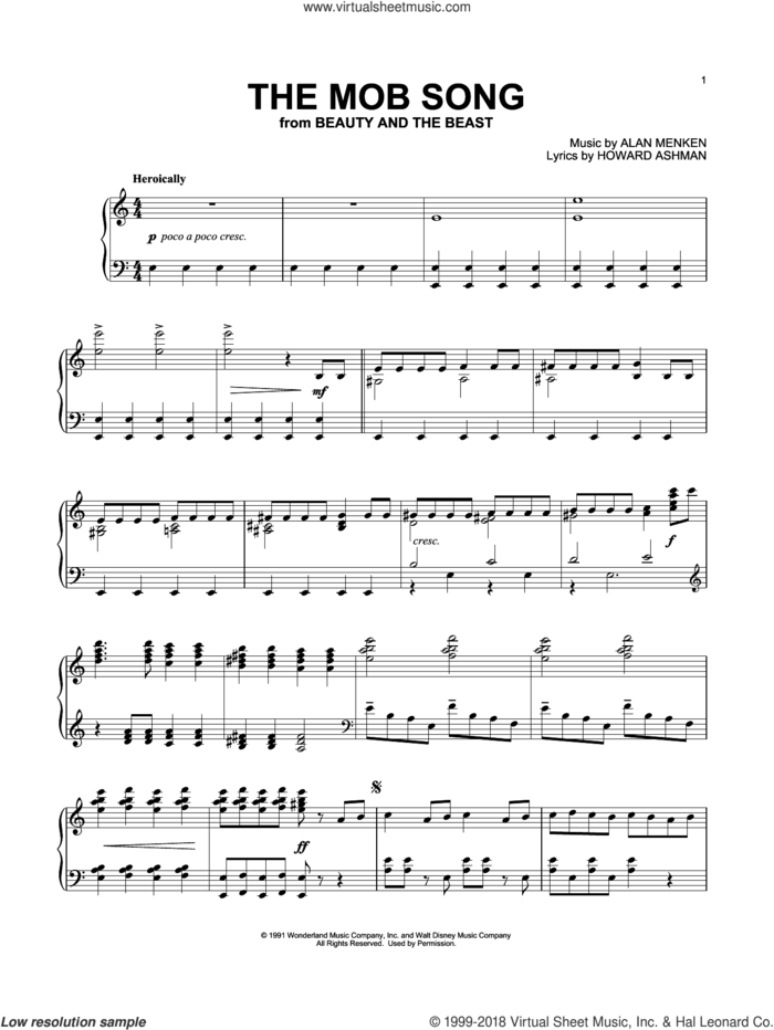 The Mob Song (from Beauty And The Beast) sheet music for piano solo by Beauty and the Beast Cast, Tim Rice, Alan Menken and Howard Ashman, intermediate skill level