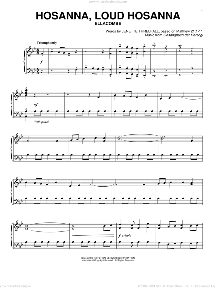 Hosanna, Loud Hosanna sheet music for piano solo by Gesangbuch der Herzogl and Jennette Threlfall, intermediate skill level